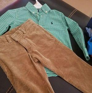 Ralph Lauren button up n corduroy pants